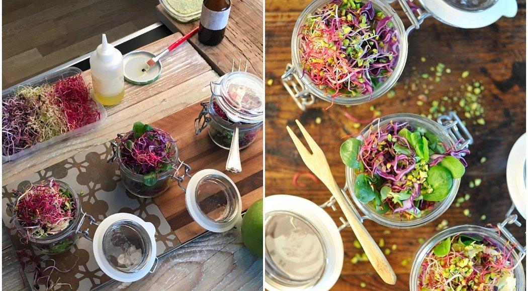 Food Stylist: chi è e cosa fa - Insalata in barattolo, preparazione set e scatto finale